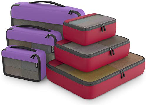 (Packing Cubes Organizer Bags For Travel Accessories Packing Cube Compression 6 Set For Luggage Suitcase (Purple Red))