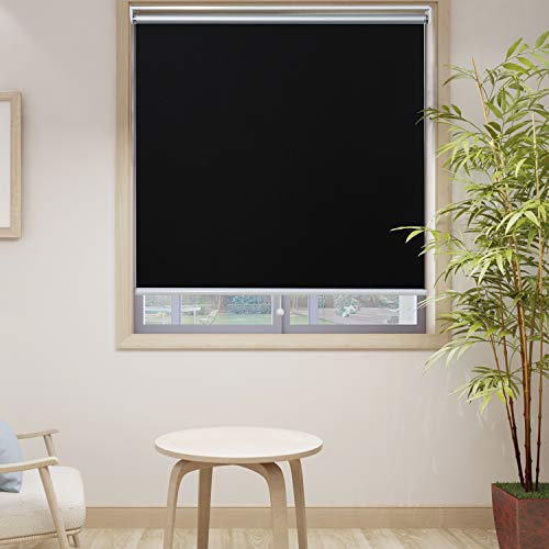 HOMEDEMO Blackout Window Shades Cordless UV Roller Shades & Blinds, Black 28W x 72H, Room Darkening Spring Shade for Office, Bedroom, Kitchen