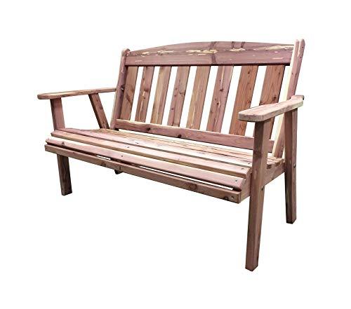 Wood & Style Patio Outdoor Garden Premium Amish Made 52.5 in. Cedar Outdoor - Amish Bench Set