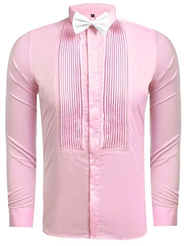 Hasuit Men's Discount Tuxedo Shirts With French Cuffs And Bow Tie