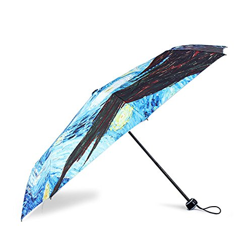Yiping Brand New and Umbrellas Van Gogh Starry Night Painting Sun Rain Folding UV Protection Umbrellas for Women Men Kids