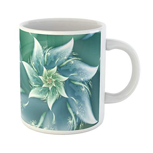 Semtomn Funny Coffee Mug Teal Abstract Blue Wave Fractal Aqua Aquamarine Azure Celeste 11 Oz Ceramic Coffee Mugs Tea Cup Best Gift Or ()