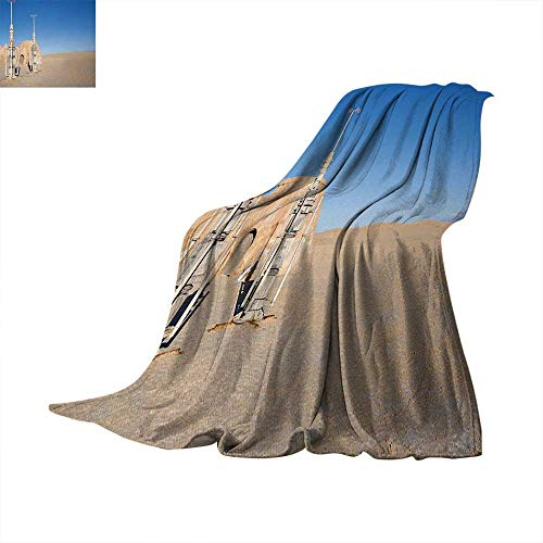 Galaxy Lightweight Blanket Illustration of Town of Famous Movie Set on The Planet Fantasy Space Wars Theme Digital Printing Blanket 60