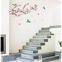 ملصقات لتزيين جدران غرف الاطفال، قابلة للنزع، على شكل ازهار شجر الخوخ