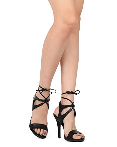 Alrisco Women Lace Up Stiletto Sandaal - Gekooide Enkel Uitgesneden Naaldhak - Formele Geklede Meisjes Night Veelzijdige Sandaal - Hb18 Door Dbdk Collectie Zwart Kunstleer