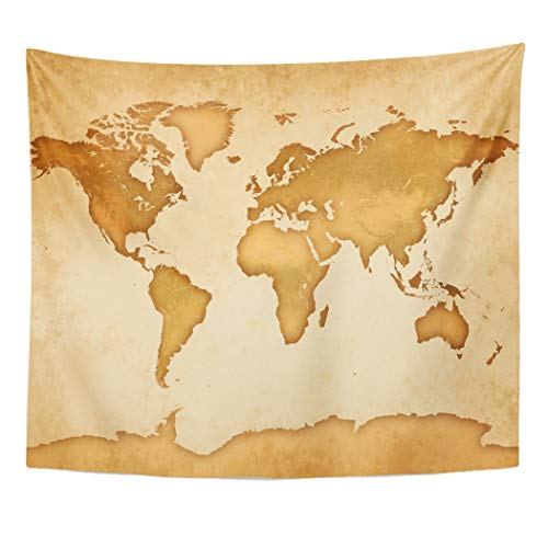 (Emvency Decor Wall Tapestry Brown History Old Parchment Very Detailed World Map Globe Vintage Antique Wall Hanging Picnic for Bedroom Living Room Dorm 60x50 Inches)