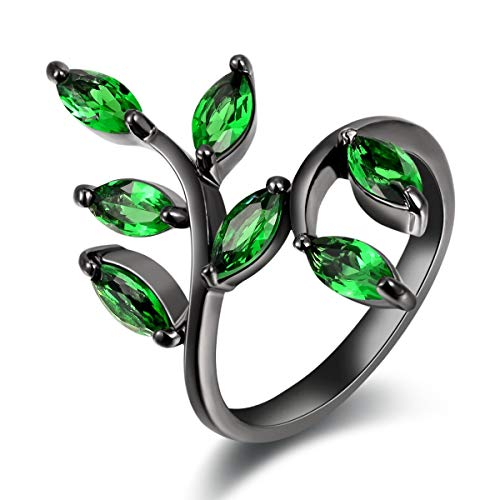 Huanhuan Jewelry Women's Unique Leaf Design Black Gold Plated Green Cubic Zirconia Adjustable Opening Rings Band for Valentine's Day Promise Engagement Size 6 -