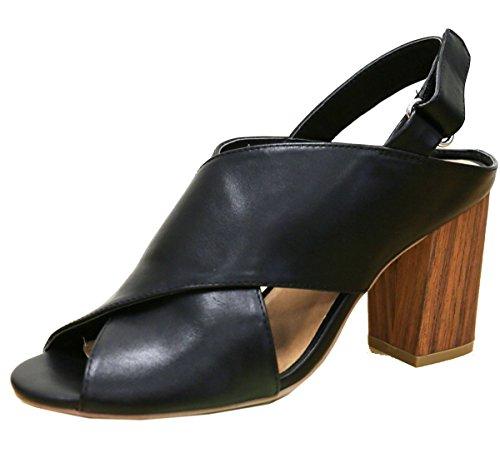 Wild Diva Women's Crisscross Slingback Peep Toe Tacked Wooden Heeled Sandal (8 B(M) US, Black)