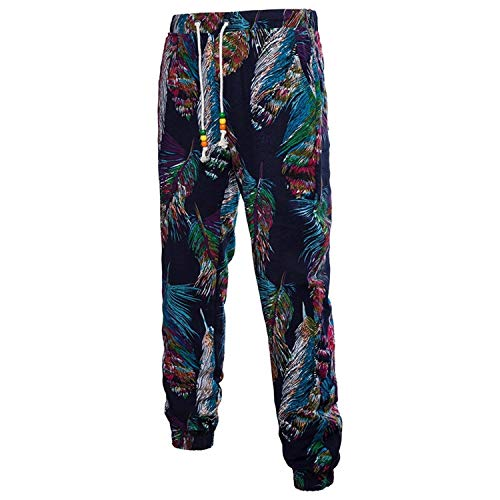 Sueltos Florales Hombre Largos Para Oscuro Pantalones Azul Cómodos Deportivos Verano Ropa Joggers Ocasionales Estampados Tamaños De Lino Vintage 3d Sweatpants BIq6nR