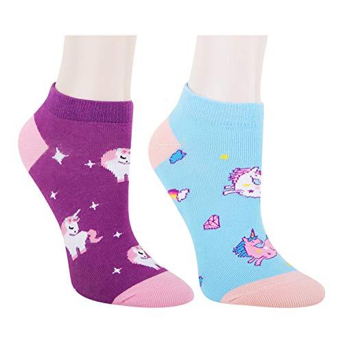 Women Girls Novelty Funny Cute Unicorn No Show Ankle Socks Colorful Low Cut Cozy Socks 2 Pack