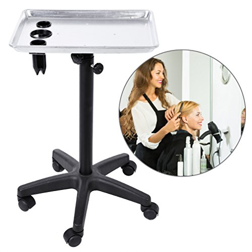 Salon Instrument Aluminium Tray Trolley, Adjustable Height Rolling Mobile Beauty Hair Service Tool Storage Utility Carts (Hole style)