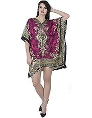 فستان كاجوال قصير فضفاض قصير من نسيج الكافيين من SKAVIJ (مقاس موحد)