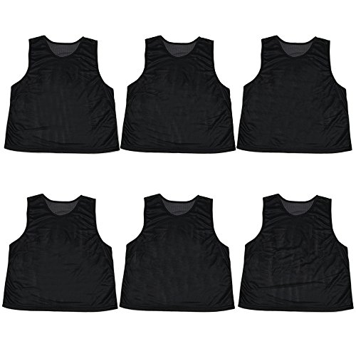 Pack of 6 Adult Size Sports Scrimmage Pinnies with Mesh Storage Bag by Crown Sporting Goods (Black)