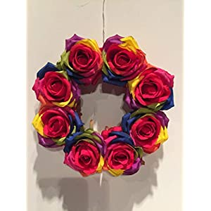 COLLEGE PRIDE - SPIRIT - SMALL GAY PRIDE WREATH 3 - LGBTQ - STUDENT ORGS - DIVERSITY GROUPS - GAY PRIDE - DORM - COLLECTOR WREATH - RAINBOW ROSES - FRIENDS OF DOROTHY 29