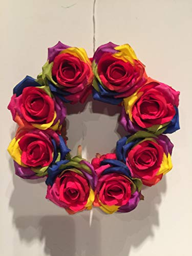 COLLEGE PRIDE - SPIRIT - SMALL GAY PRIDE WREATH 3 - LGBTQ - STUDENT ORGS - DIVERSITY GROUPS - GAY PRIDE - DORM - COLLECTOR WREATH - RAINBOW ROSES - FRIENDS OF DOROTHY