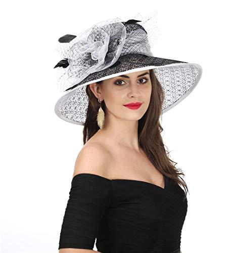 SAFERIN Women's Organza Church Kentucky Derby Fascinator Bridal Tea Party Wedding Hat (SL-Black White New)]()