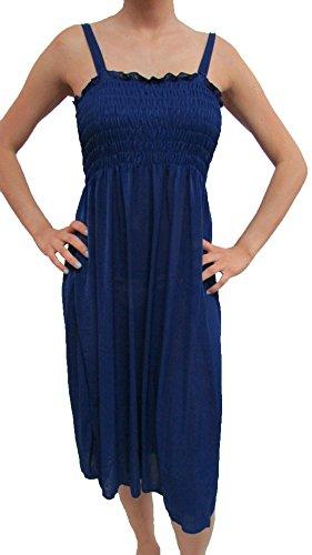 2727 Sun Dress, Beach Cover up Stretch Knee High Tank Top Women Dress Navy XL