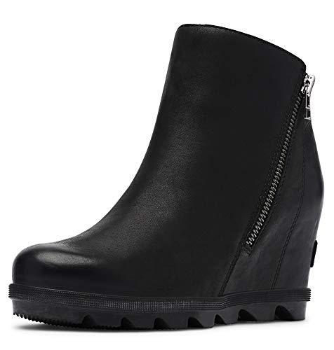 Sorel - Women's Joan of Arctic Wedge II Zip Ankle Boot, Black, 8.5 M US (Boot Wedges For Women)