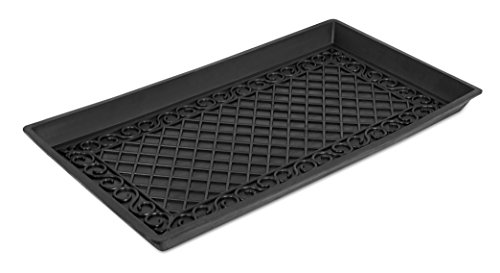 BIRDROCK HOME Rubber Boot & Shoe Tray with Lattice Border | 30 x 16 Rectangle | Heavy Duty | Protects Floors from Water and Dirt | Waterproof for All Weather Indoor Outdoor Use | Pet Bowl Mat