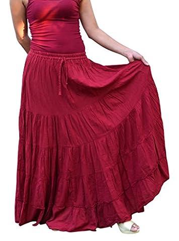 Billy's Thai Shop Cotton Maxi Skirt Boho Hippie Skirt Long Skirts for Women , Bordeaux ()