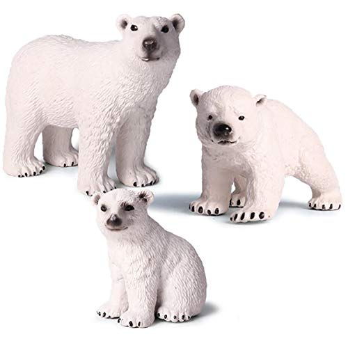 (Kolobok - Safari Animals Action Figures - Wild Polar Bears - Zoo Animals Educational Toys -3 pcs Playset)