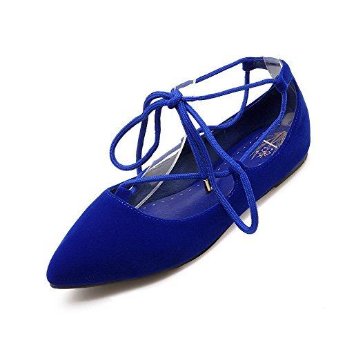 VogueZone009 Damen Rein Nubukleder Ohne Absatz Spitz Zehe Schnüren Flache Schuhe Blau