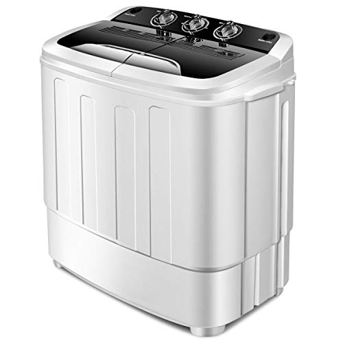 Giantex Portable Compact 13 Lbs Mini Twin Tub Washing Machine Washer Spin Dryer (Black&White)