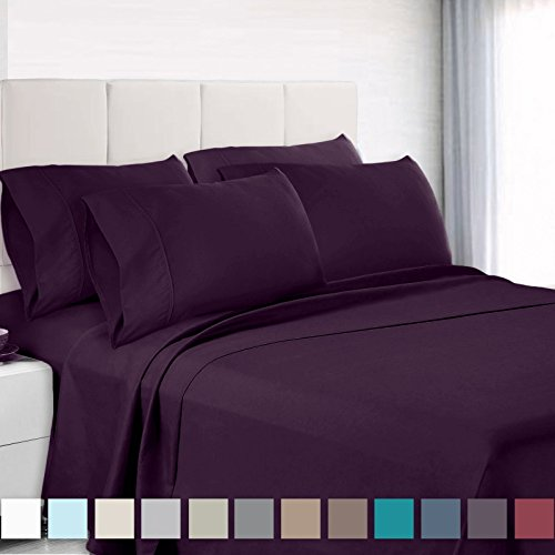 Empyrean Bedding 6 Piece Set - Hotel Luxury Silky Soft Double Brushed Microfiber - Hypoallergenic Wrinkle Free Bed Sheets - Deep Pocket Fitted Sheet, Top Sheet, 4 Pillow Cases, Queen - Eggplant