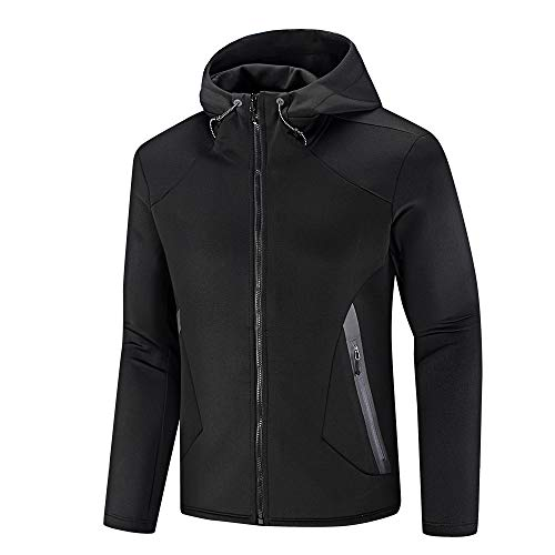 Cycling Sweatshirt Mens - NIUDI Full Zip Up Hoodies for Men Windbreaker Jacket Hooded Sweatshirt for Cycling Hiking Running Double Zip Front (X-Large, Black)
