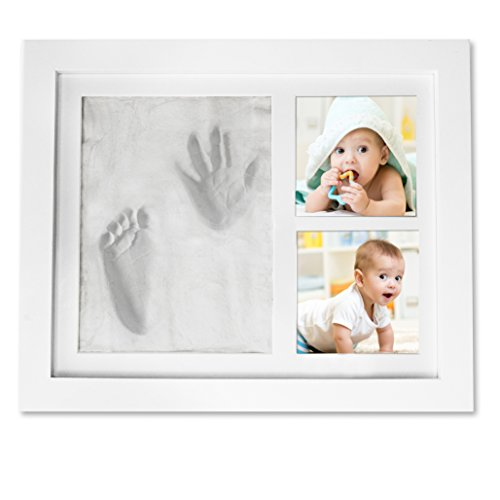 Baby Picture Frame Handprint Footprint – Cast Clay Imprints of Your Baby's Hands & Feet in Our Cute Wooden Photo Frame Keepsake Kit – Ideal Baby Shower Gift for the New Mom, Dad and Grandparents (Baby Shower Souvenirs Ideas)