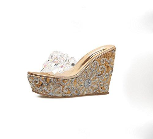 imitación bordadas 1 con de Sandalias mujer para KUKI de con cuñas plataforma cuentas diamantes de PTXq4
