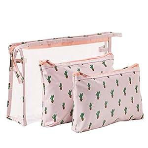 Waterproof Cactus Cosmetic Bag Set Toiletry Storage Organizer for Women Girls (Pink)