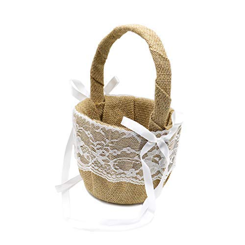 DGQ Burlap Flower Basket Vintage Retro Lace Bow Wedding Flower Girl Basket for Wedding Ceremony Party