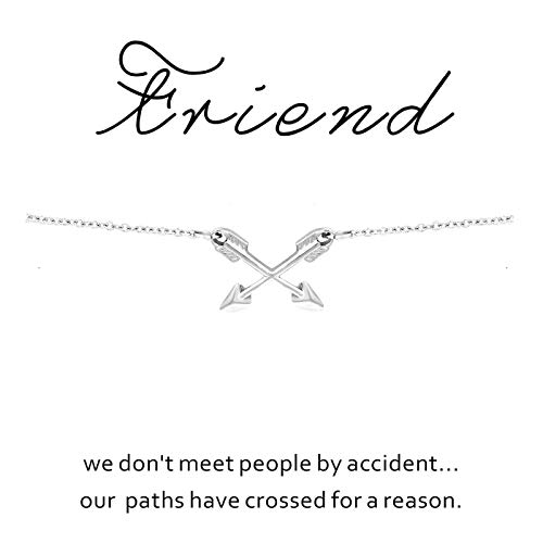 CYBERNY Graduation Gift Best Friends Cross Arrow Pendant Necklace for Women with Inspirational Card Silver