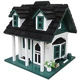 Home Bazaar Green Gables Bird Feeder, White/Green/Black