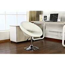 Roundhill Contemporary Chrome Adjustable Swivel Chair with White Seat