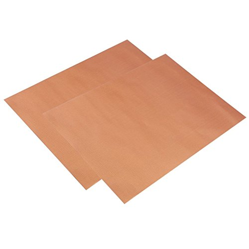 YuGuan BBQ Grill Mat Set of 2 Non-Stick PFOA Free Reusable and Easy to Clean BBQ Accessories 15.75 x 13inch Used on Gas, Charcoal, Electric Grill and More (Coppery)