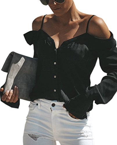 ECOWISH Womens Shirts Sexy Spaghetti Strap Off Shoulder Long Sleeve Shirts Casual Button Down Blouse Tops
