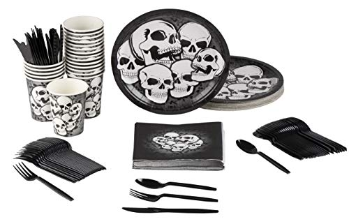Skull Party Supplies - Serves 24 - Includes Plates, Knives, Spoons, Forks, Cups and Napkins. Perfect Party Pack for Halloween and Teens Birthday Parties, Black