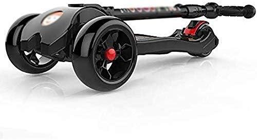 キックボード こどもスクーター スクーターバー、大人スクーター、スクーターホイール、150キロベアリング用キック折りたたみキック、2-14歳の少年、点滅ホイールとリアブレーキ、非電気のための調節可能なキッズ