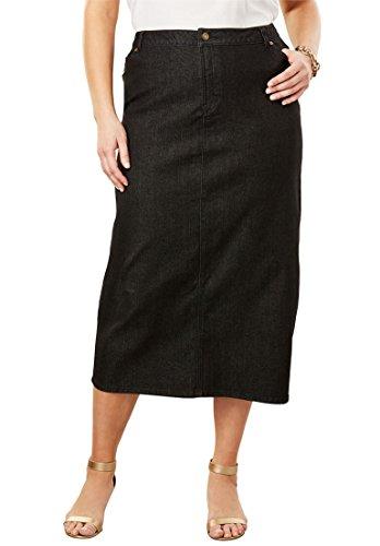 's Plus Size True Fit Denim Midi Skirt Black Denim,20 (Denim London Skirt)