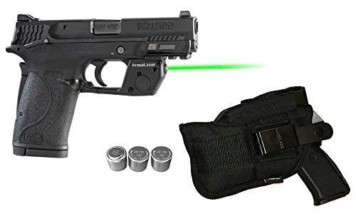 Laser Kit for S&W Smith-Wesson M&P 380 Shield EZ, M&P22 Compact w/LASERPRO Holster, Touch-Activated ArmaLaser TR28 Green Laser Sight & 2 Extra Batteries (Smith And Wesson Bodyguard 380 Laser Battery Size)