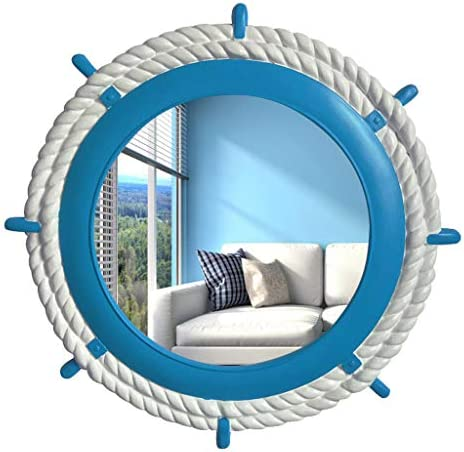 ヨーロッパラウンド装飾壁ラダー樹脂の浴室の鏡、64センチメートル JZ02/22 (Color : Light blue)