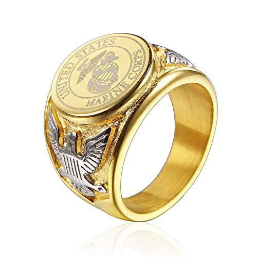 - JAJAFOOK Vintage Titanium Steel US Military Marine Corps Ring Eagle Medal Rings for Men, Silver/Gold/Black (Gold with Silver, 10)