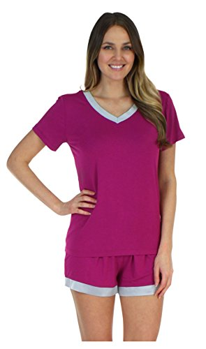 Pajama Heaven Women's Sleepwear Bamboo Jersey V-Neck Top and Shorts Pajama Set with Satin Trim, Magenta (PHBJ1940-2056-LRG)