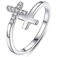 Ransopakul Jewelry Women Girl Diamond Rings Double Cross Silver Color