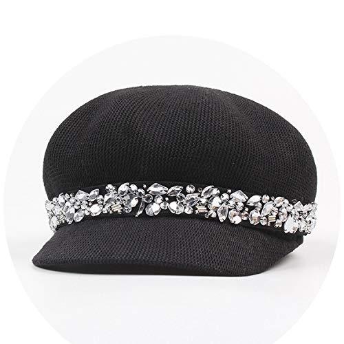 コットン メッシュ八角形の帽子 女性の帽子 夏 バイザーカジュアルキャップ クリスタルオクタゴンキャップ,ブラック