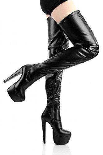 Sapatos Botas Pretos Em Planalto Overknee Mais Giaro Senhoras Tamanhos wtgnqIXxH