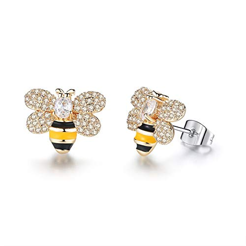 Gold Enameled Bumble Bee - Gold Plated Enameled Crystal Honey Bee Bumble Stud Earrings Cute Little Honeybee Animal Dangle Drop Earrings Costume Jewelry for Women (Gold)