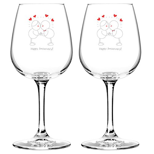 Wed Flower Girl Basket - Happy Anniversary! Set of 2 Red or White Wine Glasses (12.75 oz.)- Romantic Glassware Gift Set - Made in USA – Cool Present Idea for Wedding Anniversary, Married Couples, Him or Her, Mr. or Mrs.
